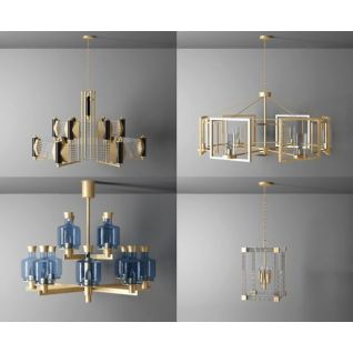 时尚简欧水晶吊灯3d模型