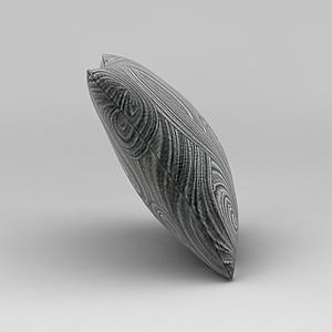3d灰色花紋抱枕模型