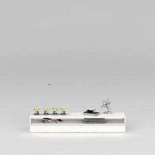 白色电视柜矮柜3d模型3d模型