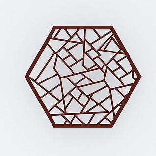 六边形花格隔断3d模型