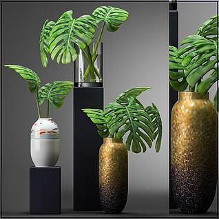 绿植花瓶摆件3d模型