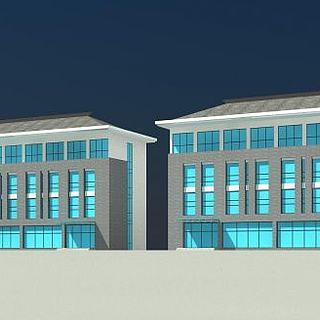 中式沿街办公楼3d模型
