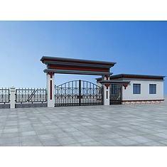 藏式大门及围墙3D模型3d模型