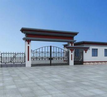 藏式大门及围墙