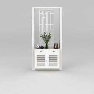 白色玄关隔断柜3d模型3d模型