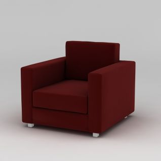 酒红色单人沙发3d模型3d模型