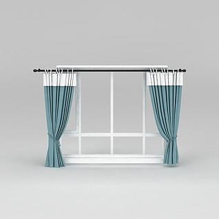 卧室蓝色窗帘3d模型