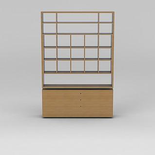 中式实木书架3d模型