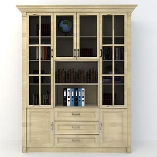 米色实木书柜3d模型