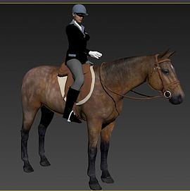 骑马的女人模型