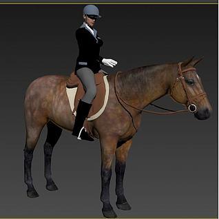 骑马的女人3d模型