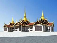 傣族酒店模型3d模型