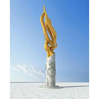 凤凰雕塑3d模型