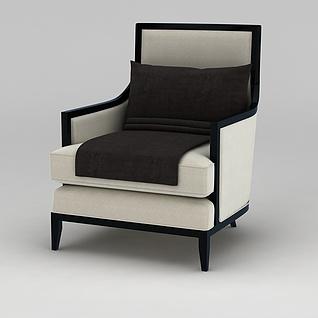 美式简约单人沙发椅3d模型3d模型