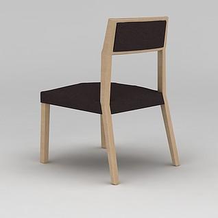 简约原木餐椅3d模型