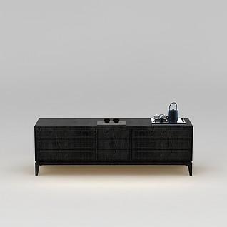 低调高档实木电视柜3d模型3d模型