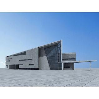现代时尚办公楼3d模型3d模型