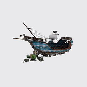 复古木帆船模型