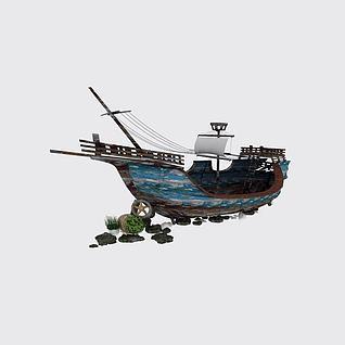 复古木帆船3d模型