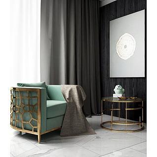 现代单人沙发茶几组合3d模型