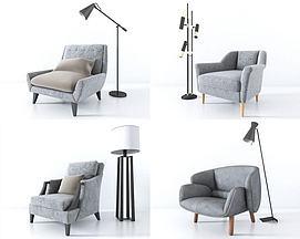 现代单人沙发落地灯组合模型