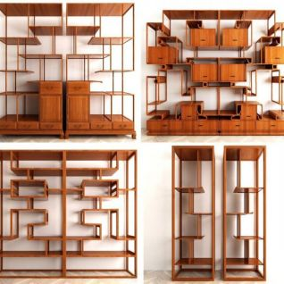 中式博古架组合3d模型