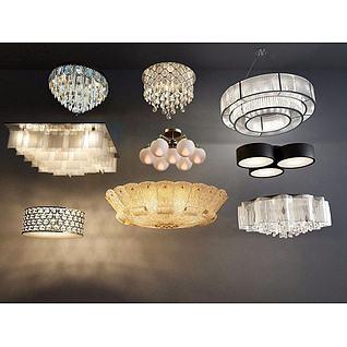 现代水晶吊灯吸顶灯组合3d模型