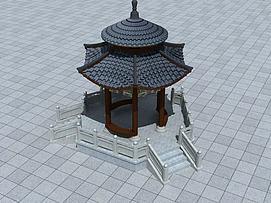 六角圆亭3d模型