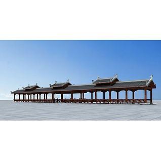古建廊桥3d模型