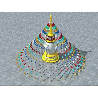 藏族经幡3d模型
