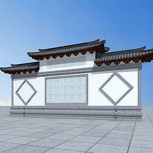 古建照壁模型3d模型