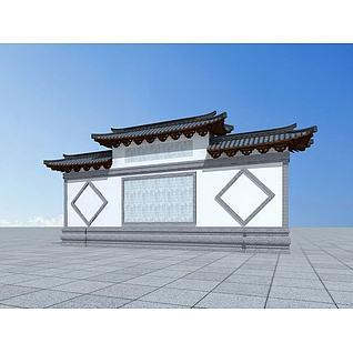古建照壁3d模型