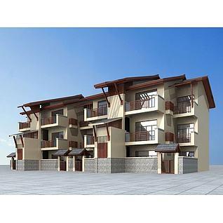 东南亚风格联排别墅3d模型