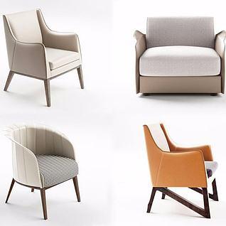 现代单人沙发休闲椅子组合3d模型