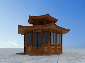 六角木亭3d模型