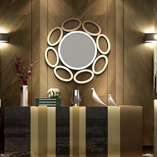 低调柜子椅子组合3d模型