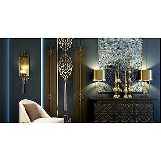 东南亚风格玄关柜饰品组合3d模型