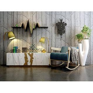 时尚电视柜摇椅组合3d模型