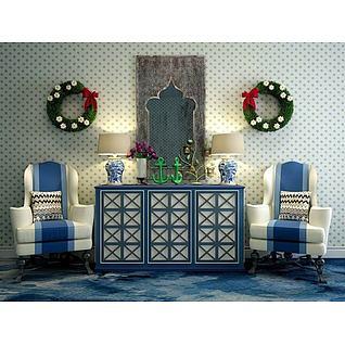 地中海柜子沙发组合3d模型