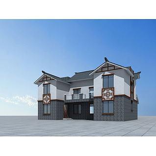 中式别墅房子3d模型