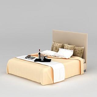 酒店大床3d模型
