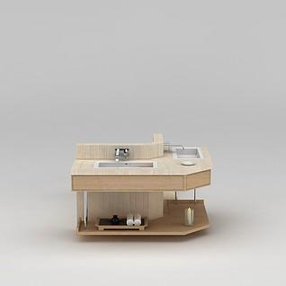 原木浴室洗手台3d模型