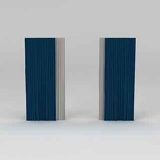 蓝色窗帘3d模型