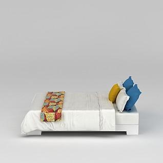 白色温馨大床3d模型