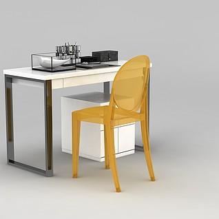 现代书房桌椅3d模型3d模型