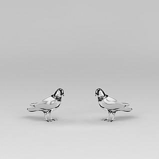 水晶鸽子摆件3d模型