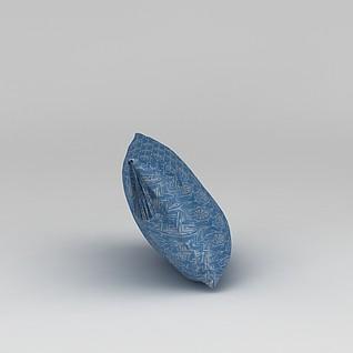 蓝色丝绸抱枕3d模型