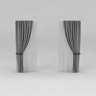 灰色双层窗帘3d模型
