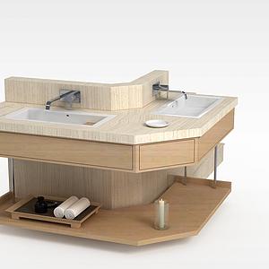 原木浴室洗手台模型
