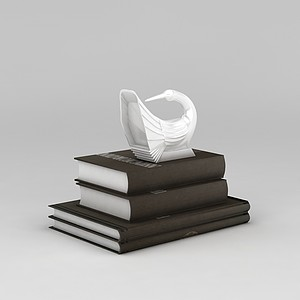 3d書籍和<font class='myIsRed'>天鵝</font>擺件模型